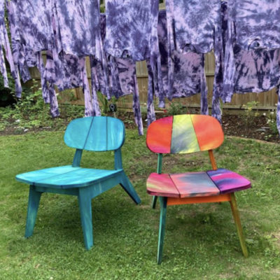 Image for Stain Shade Pivots to Hand-Dyed Birchwood Chairs
